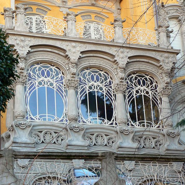 Beautiful set of windows on the hill of Turin