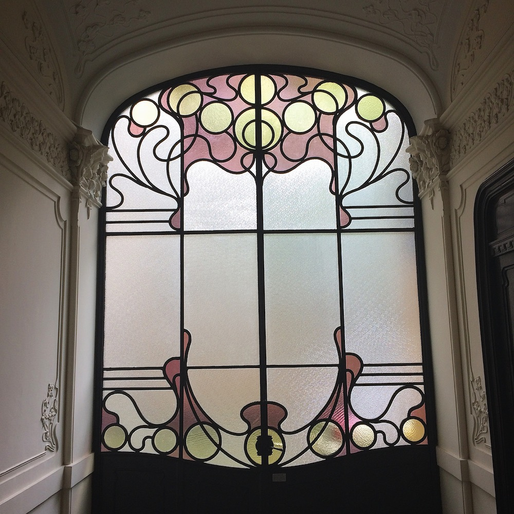 Stained glass door art nouveau liberty Turin