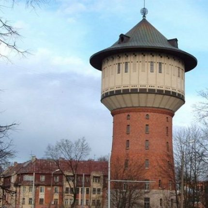 Water tower in the other side of the Daugava river - Riga Art Nouveau Private Tours